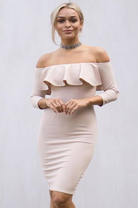 Ruffled Off-The-Shoulder Long Sleeved Above The Knee Bodycon Dress
