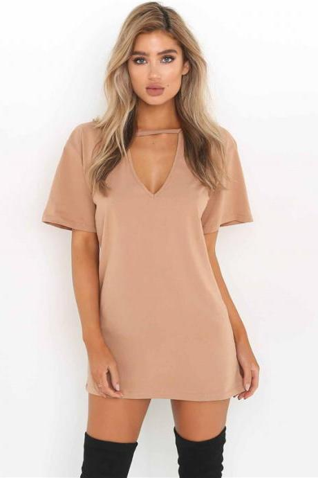 Plunge V Short T-Shirt Dress