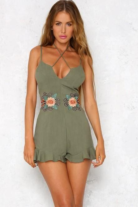 Floral Embroidered Strappy Plunge V Romper Featuring Ruffled Hem