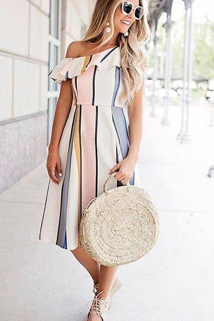 Sexy striped one-shoulder dress