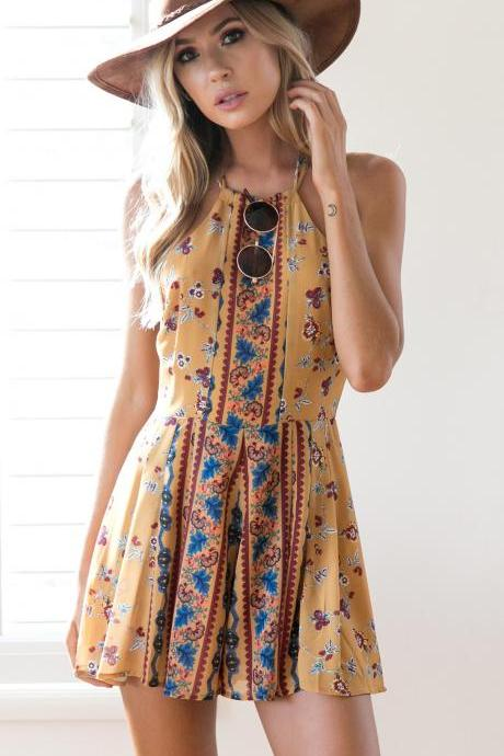Mustard Yellow Floral Print Halter Neck Short Skater Dress
